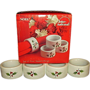 SALE Noel Porcelain Napkin Rings International China Holly Leaves Red Berries Set of 4 Origina