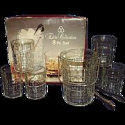 Italian Crystal Ice Pail 6 Tumblers Ice Tongs 8 Piece Set Elite Collection Original Box