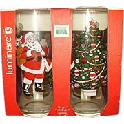 SALE Santa Claus, Christmas Tree and Santa in Sleigh with Reindeer Beverage Glasses Set of 4 M