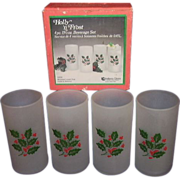 SALE Indiana Glass Holly n Frost 4 piece Holiday Beverage Set MIB