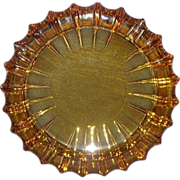 Fostoria Amber Glass Ash Tray Fluted Edge Large 10 inches