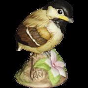 Andrea Baby Chickadee Porcelain Figurine with Pink Periwinkle Flower 9605 Sadek