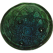 McKee Fentec Carnival Glass Footed Bowl Green Blue Pres Cut