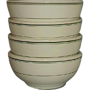 McNicol China Restaurant Ware Coupe Cereal Bowls MCN 7 Set of 4 Green Lines Rim Border on Soli