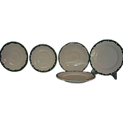Sterling Restaurant Ware Green Crest Wave Green Wave 5 Piece Grouping 3 Saucers 2 Bread and Bu