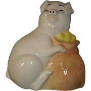 SOLD Smiling White Pig Piggy Bank Holding Bag of Yellow Corn