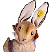 Early '50s Steiff Big Brother Seated Rabbit Hase (PRE-Sonny) Long Lustrous Mohair IDs Plus ...
