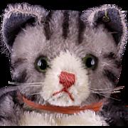 REDUCED Gorgeous Early Steiff Black Gray & White Tabby Cat Kitten Hand Puppet Glass Eyes I