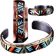 Estate 14K Gold and Sterling Cuff Bracelet Zuni Indian Viola Eriacho Inlay Turquoise Coral and