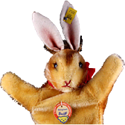 Earliest Post WWII Series Steiff Hase Rabbit Bunny Hand Puppet All ID