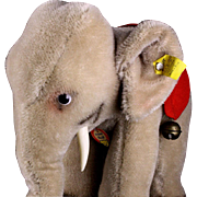 Steiff '50s/'60s Chubby Middle Brother Mohair Baby Elephant All IDs