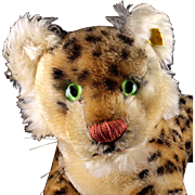 SALE PENDING Rare 1950s (not very!) Little Brother Steiff Reclining Leopard Wild Cat 2 IDs ...