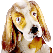 Rare (REALLY RARE) Gorgeous Big Brother Seated Steiff Basset Hound Dog Puppy All ID, RARE ...