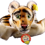 Rare Gorgeous Early Model Steiff Tiger Wild Cat Hand Puppet All ID (PRISTINE CHEST TAG ...