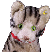 SALE PENDING Rare Steiff 17-cm GRAY Susi Cat Kitten Continuous Stripes ID 1949-1955 ...