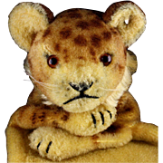 Rare Steiff Early Post WWII Wool Plush Lion Cub Wild Cat Hand Puppet ID