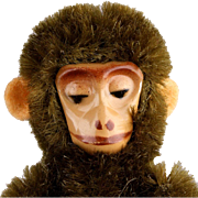 Nine Cm Miniature Mohair Covered Schuco Jointed Monkey with Metal Skeleton and Painted Face Mi