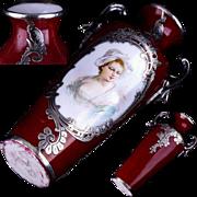 Tiny Antique French Sevres Porcelain Vase w Hand Painted Portrait signed Bizet and Fabulous ..