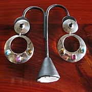 Great Big 1980s Mexican Dangling Earrings with Stones - Clip