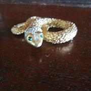Panetta Gold Tone Snake Brooch with Rhinestones