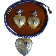 Don Lucas Lapis Necklace and Heart Pendant and Earrings