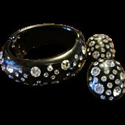 Weiss Black Clamper with Clear Rhinestones - Bracelet & Earrings