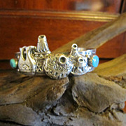 Hopi Sterling Bracelet with  Turquoise and Applied Pots