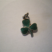 Sterling and Enamel Shamrock Charm - Marked