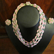 Vendome Pink, White and Green Necklace and Earrings
