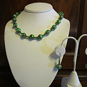 Gold and Green Foil Glass Bead Murano Necklace - Venice, Italy