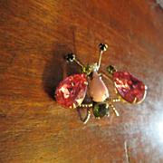 Signed Schreiner Pink Trembler Bug Brooch