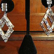 Older Weiss Dangling Earrings - Clear Rhinestones