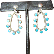 Old Snake Eye Turquoise Sterling Earrings - Native American