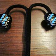 Double Row Turquoise Sterling Earrings - Harvey Era