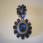 Joseph Wiesner Sapphire and Clear Rhinestone Brooch