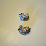Trifari Earrings  - Sapphire and Clear Rhinestones