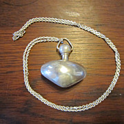 Puffy Heart Shaped Sterling Perfume Bottle & Chain Necklace