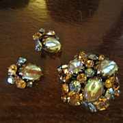 Regency Saphiret Brooch and Earrings - Book Piece