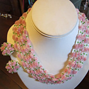 Vendome Necklace and Earrings - 6 Strands of Pink, White and Green