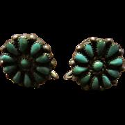 Old Zuni Turquoise Flower Earrings Sterling