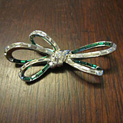 Trifari Channel Set  Rhinestone Ribbon Brooch