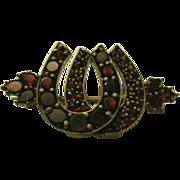Victorian Garnet Horseshoe Brooch