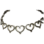 Los Castillo Heart Necklace - Sterling and Black Enamel