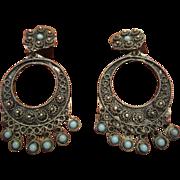 Etruscan Style Dangle Earrings - 900 Silver