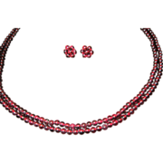 Two Strand Bead Ruby Color Tourmaline Necklace and Earrings