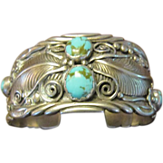 James Harrison Traditional Sterling Cuff - Leaves, Tendrils, Cactus Flowers, Wings