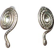 Sterling Coiled Snake Earrings - Mexico
