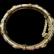 Sterling and 22K Gold Rose Bud Hinged Bracelet