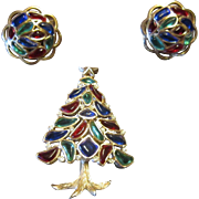 Trifari Christmas Tree Brooch and Earrings - Multi Color Modern Mosaic 1966