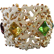 Kenneth Jay Lane Hinged Bracelet with White Enamel Coral Shapes, Large Glass Stones, Faux ...